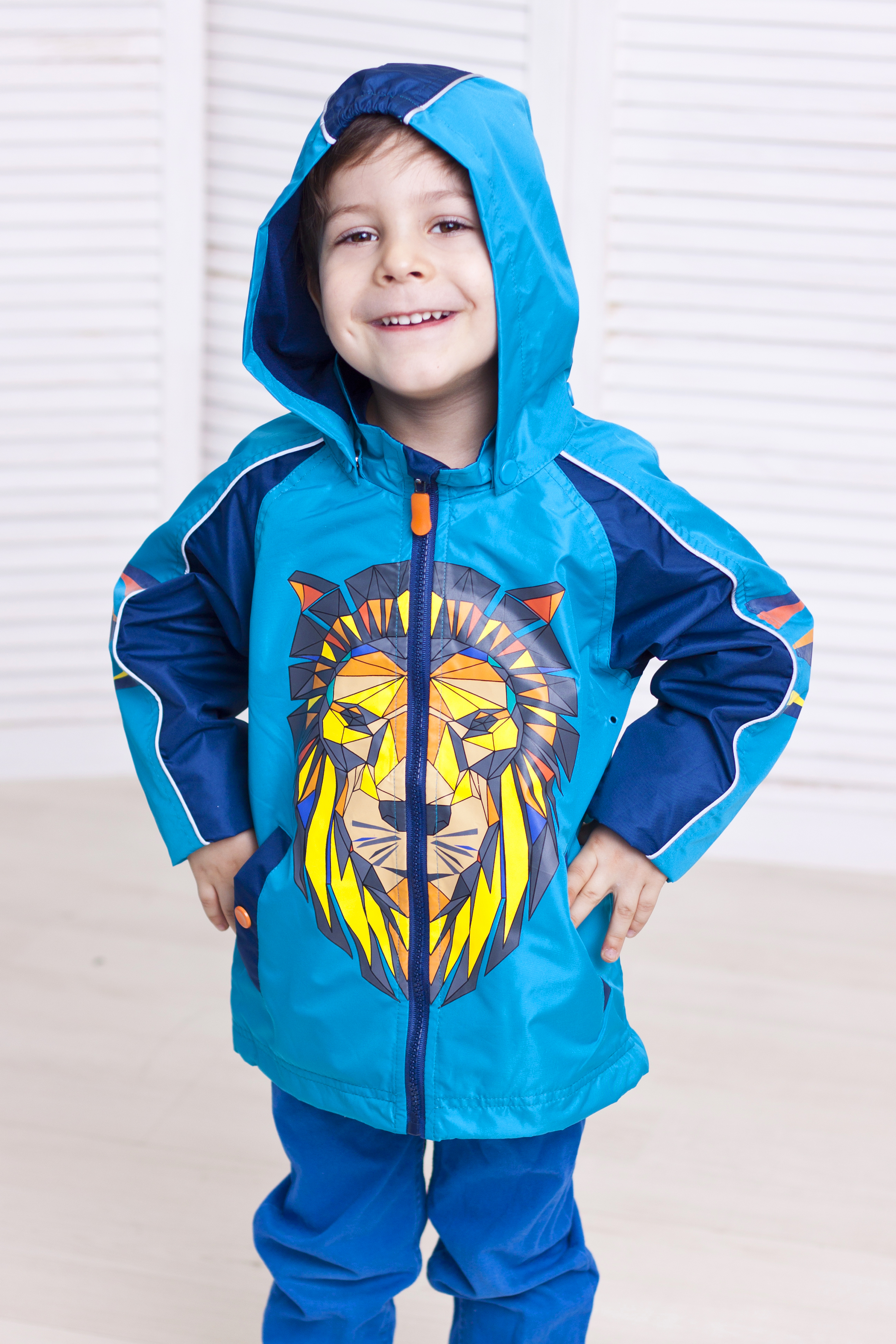 Куртка демисезонная для мальчика   ЛевДетские куртки<br>Легкая и оригинальная куртка с изображением льва из весенней линейки OLDOS отлично защитит Вашего маленького модника от весеннего ветра и дождика благодаря водонепроницаемой пропитке PU и водооталкивающему покрытию WR на ткани.<br><br>Размер: 86, 92, 98, 104<br>Цвет: Голубой